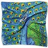Pequeñas bufandas de seda para mujer Ligero Satén Cuadrado/Pañuelo en la cabeza/Envoltura para el cabello/Pañuelo de cuello Colorido Pavo real salvaje