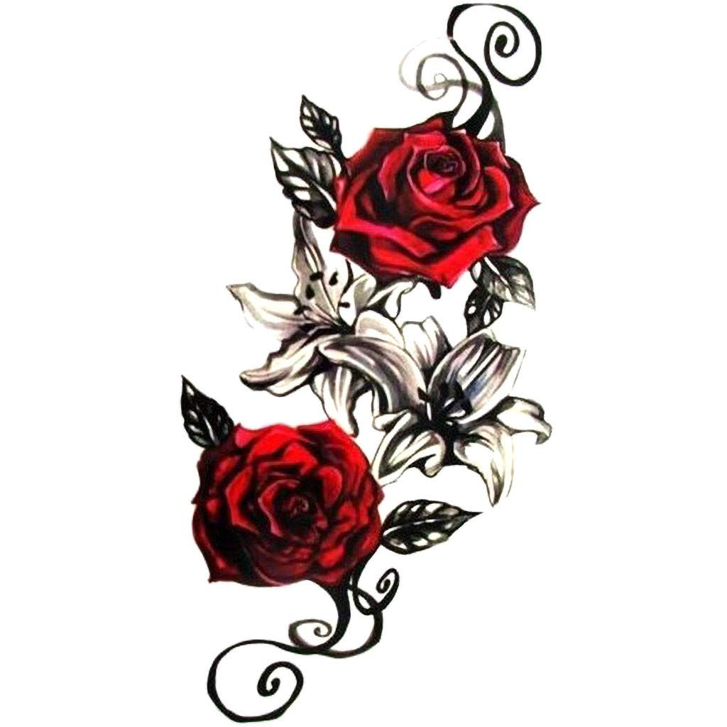 Rose Fake Translated Tattoo for Women and Mul Temporary Ranking TOP17 Sheets Men Sleeves