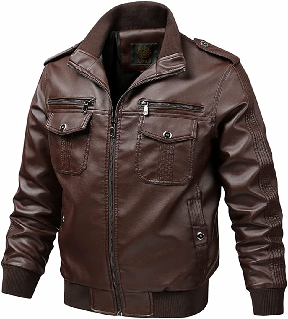 Men Leather Casual Top Motorcycle Male Outwear PU Leather Cargo Coats Pockets Jackets
