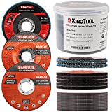 KingTool 27pcs Angle Grinder Wheel Set, Grinder Disc Set Includes 20pcs Cutting Wheel, 5pcs Grinding Wheel, 2pcs Flap Discs with 4-1/2' Diameter and 7/8' Arbor for Steel and Stainless Cutting Grinding