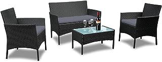 UISEBRT - Juego de Muebles de jardín de polirratán – Juego de 2 sofás, sillas Individuales, Mesa y cojín de Asiento de Color Antracita
