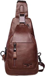 Bolso de hombro para hombre, de piel auténtica, bolso bandolera, mochila para hombre, para ocio casual, al aire libre, viajes, senderismo, trabajo, escuela, negocios, ciclismo