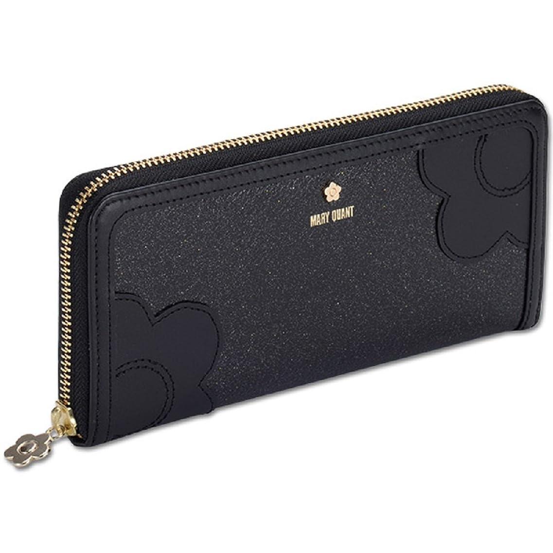 証明サイレント滝Mary Quant マリークワント 財布 長財布 デイジーペタルシェイプ パース (ブラック)