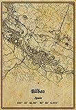 Spanien Bilbao Landkarte Poster Leinwand Druck Vintage Stil