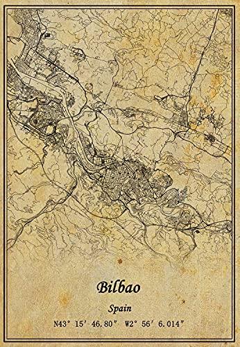 Póster de mapa de Bilbao de España con impresión en lienzo de estilo vintage sin marco para decoración de regalo de 25,7 x 35,5 cm