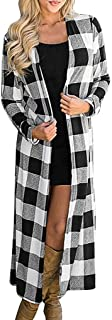 Bravetoshop Fashion Womens Long Sleeve Open Front Plaid Knited Long Cardigan Maxi Sweater Coat Outwear