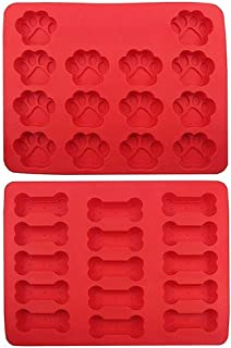 2-Pack Silicone Dog Tray Mold (one tray with bones, one tray with paws) Treats For Pets - Red