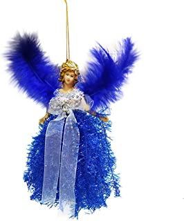 RUIVE Girls Feather Angel Doll Hanging Tassel Xmas Tree Pendants Ornaments Wing Home Decor (Blue, 22x13cm)
