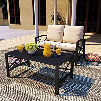 PatioFestival Outdoor Patio Conversation Sectional Set Patio Furniture Set Modern Loveseat with Cushions,Coffee Table, Metal Frame for Outdoor Poolside Backyard Lawn (Set of 2, Khaki)