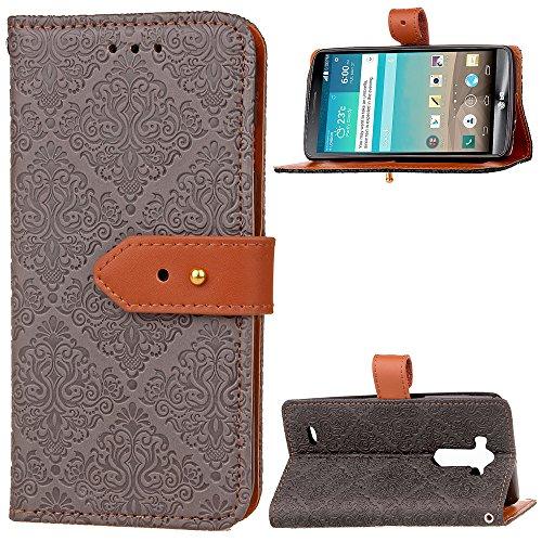 voor LG G3 Hoesje PU Lederen Card Slots Wallet portemonnee Flip Case Cover (Grijs)