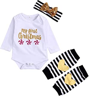 Merry Christmas Newborn Infant Baby Girls Letter Print Top Romper Leg Warmer Headbands Clothes Outfits
