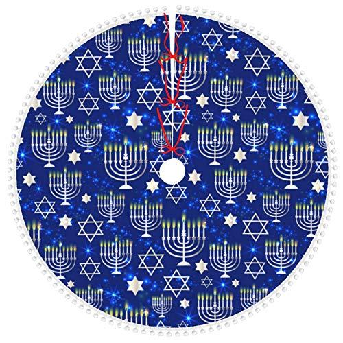 Christmas Tree Skirt with Pom Pom Trim,Happy Hanukkah Shining Background with Menorah Tree Skirt Tree Base Cover for Xmas 30 inch