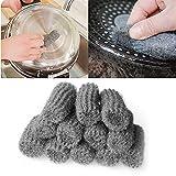Estropajos de alambre de acero, 24pcs Gadgets de cocina Gadgets de acero Lana Limpieza Pot Sartén Desengrasado Limpiador Esponja Cable Scourer Ball Clean Herramienta para limpiar el baño de la cocina