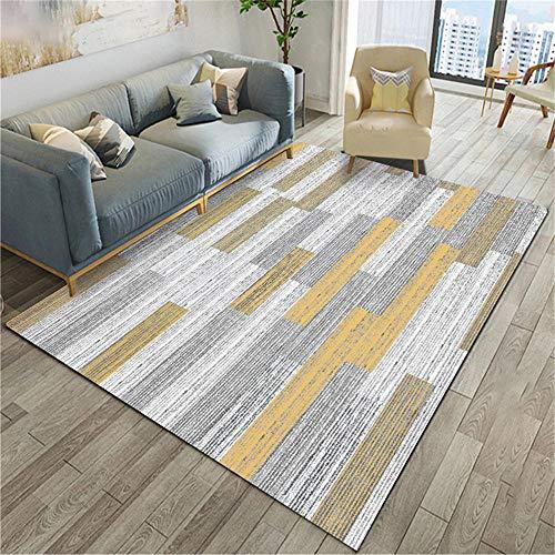 WQ-BBB Dormitorio La Alfombrae Super Suave Decoración de Rayas Amarillas marrón Gris de Estilo Simple alfombras Salon Baratas 120X160cm