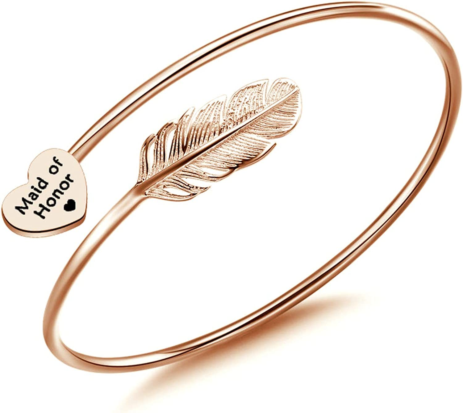 CHOORO Maid of Honor Wedding Feather Free shipping Omaha Mall anywhere in the nation Leaf Ban Jewelry Adjustable