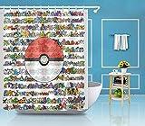 kglkb Duschvorhang,Pokemon Ball Duschvorhang, Liner Bad Wasserdicht Polyester Stoff Haken 180X180 cm