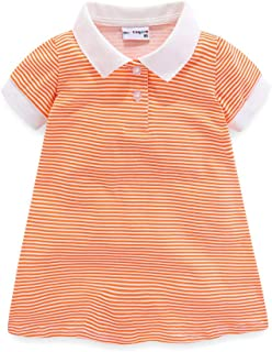 Little Girls Dresses with Collar Short Sleeve Stripe