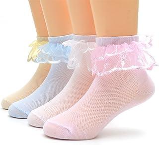 4 pares de calcetines de tobillo para niños con encaje de volantes de ajuste para 0-3 años de edad bebé