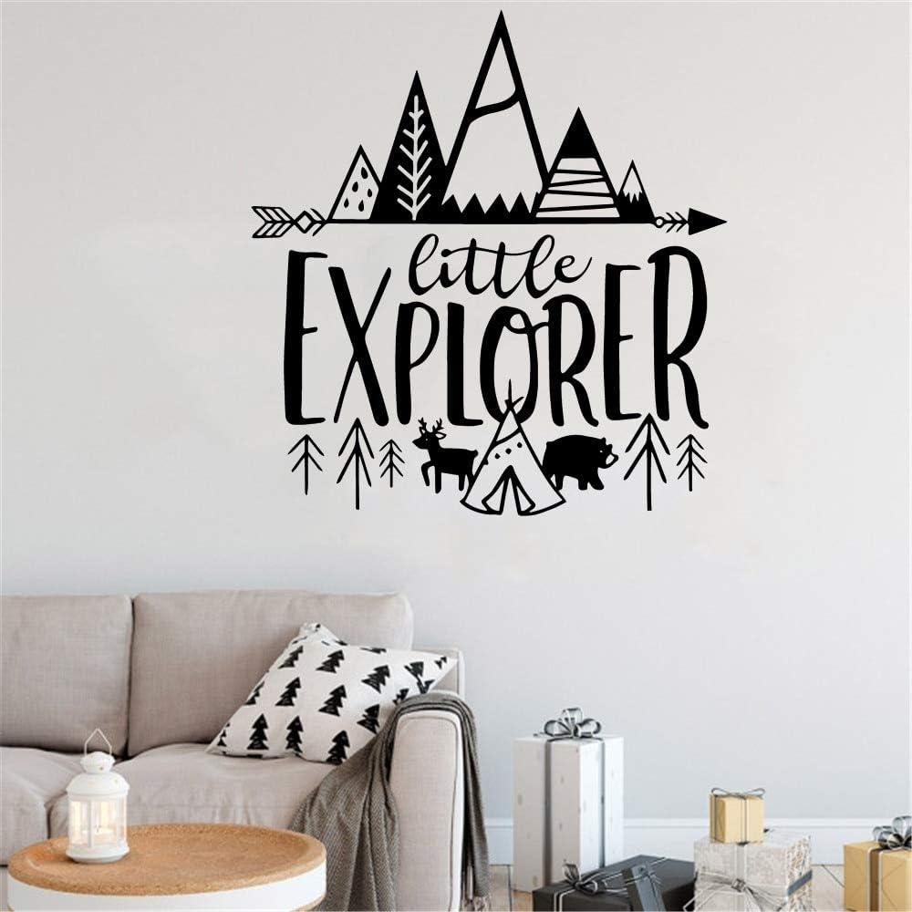 Pequeño explorador nórdico vinilo pegatina aventura pared decoración niño jardín de infantes bosque mural otro color 36x37 cm