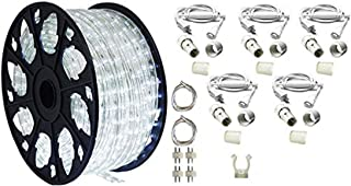 AQL AQLighting Dimmable Cool White LED Rope Light Deluxe Kit, 120 Volts, 150ft/Roll, Commercial Grade Indoor/Outdoor Rope Light, IP65 Waterproof