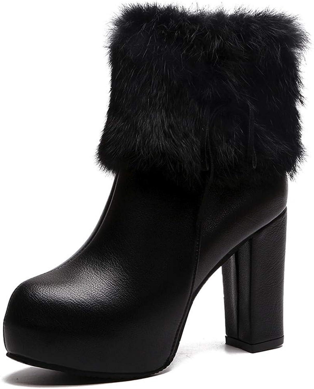 XoiuSyi Lady Leather Martin Boots,Women Plush Straps Middle Tube Zipper High Heels Boots
