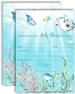 Underwater Cute Sea Life-Themed Baby Sprinkle Shower Invitations, 20 5