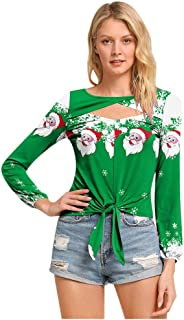 ODGear Women Elegant Style Christmas Print Sweatshirts Long Sleeve Hooded Blouse Top Shirt Pullover with Pockets