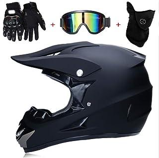 TKUI Motocross Helm Matte Schwarz, Herren Crosshelm mit Brillen Maske Handschuhe 4Pcs, Adult Motorrad Sports Damen Männer Enduro Downhill Helm ATV MTB Quad Motorräder Off-Road-Motorrad-Helm