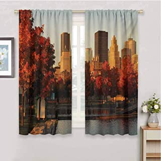 zojihouse City Old Port of Montreal Early in The Morning Scenic Autumn Trees Buildings Canada Window Curtain Fabric Red Orange Brown Blackout Draperies for Bedroom W63xL45