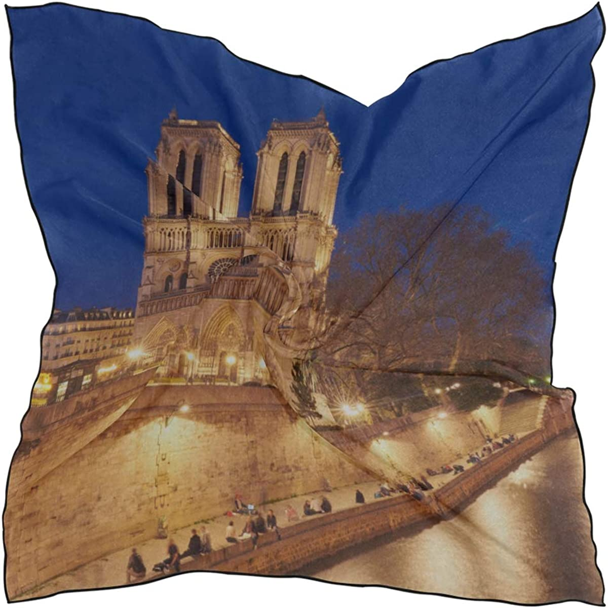 Soft Polyester Silk Scarf For Head Fashion Print Classic Church Notre Dame De Paris Square Fashion Scarf Pashima Scarfs For Women Scarf Lightweight Multiple Ways Of Wearing Daily Decor