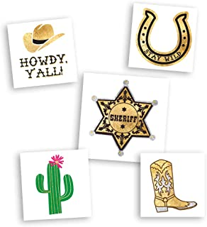 WILD WEST VARIETY SET includes 25 assorted kids premium waterproof metallic gold temporary foil party tattoos - party supplies, cowboy boot, western, horseshoe, wedding, cactus, sheriff, howdy