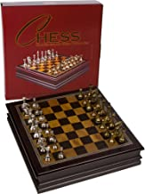 Grace Chess Inlaid Wood Board Game Set with Metal Pieces, Medium 12 x 12 Inch