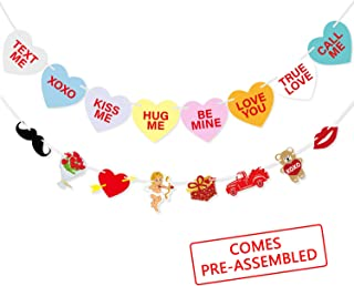 Valentines Conversation Candy Hearts Banner   Valentines Heart Bunting Garland   Funny Valentine`s Day Decorations   Romantic Home Indoor Hanging Decor - NO DIY Required