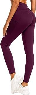 QUEENIEKE Damen Yoga Leggings Mesh Mittlere Taille 3 Handytasche Gym Laufhose