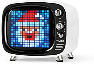 Divoom Tivoo Retro Bluetooth Speaker - Pixel Art DIY Box, RGB Programmable 16X16 LED, Support Android & iOS; TF/SD Card & Aux 3.9X3X3.2 Inches (White)
