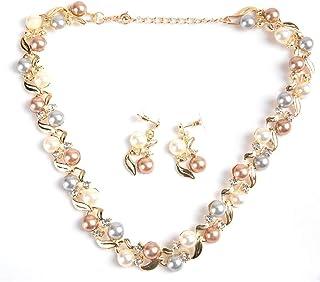 Set Orecchini Donna Collana di Perle finte, Set di Gioielli da Sposa con Strass Gioielli Regalo per Signora Festa della Mamma