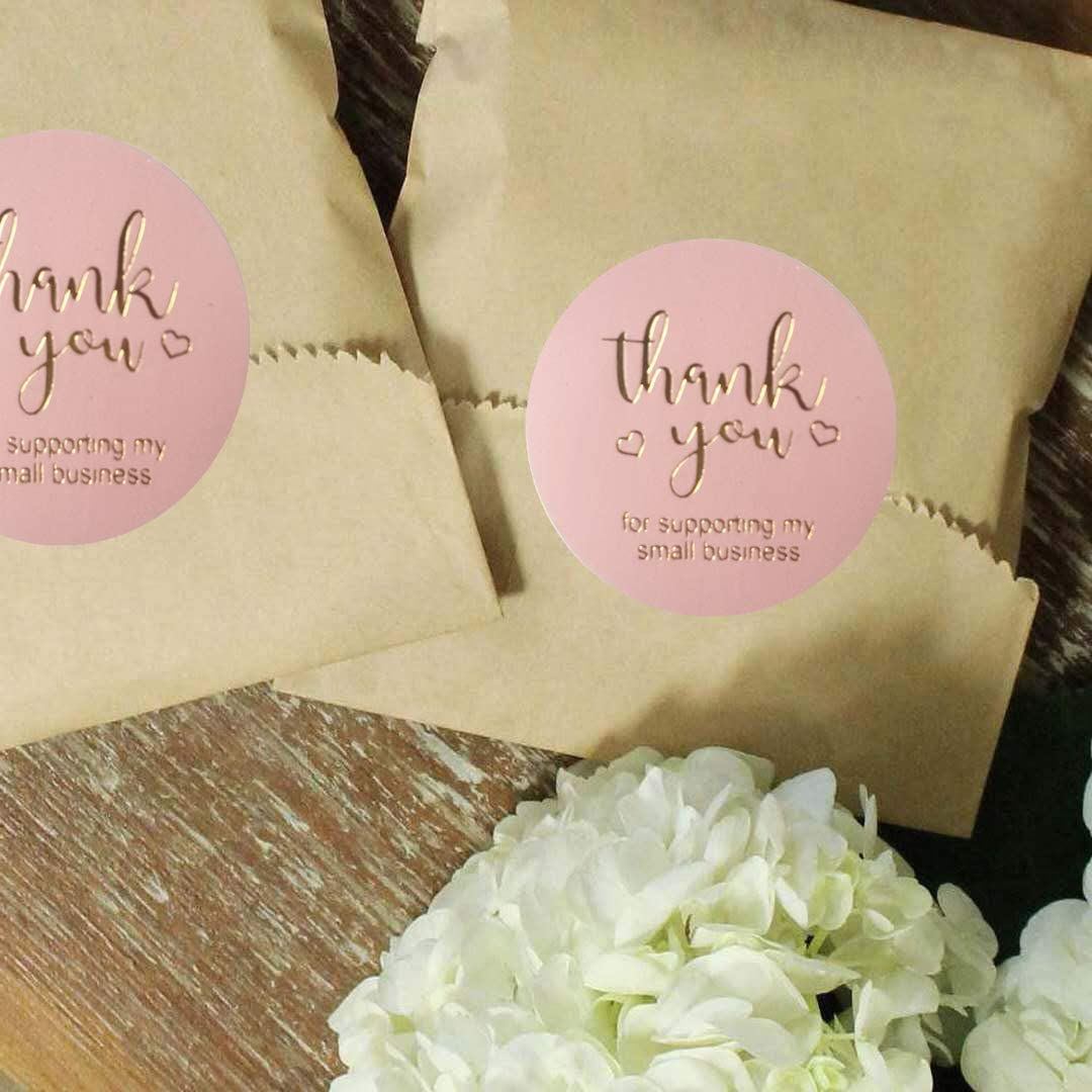 Verpackung Handarbeit rosa Folien-Aufkleber f/ür Luftpolsterversande 500 St/ück Umschl/äge Einzelhandel Online 3,8 cm Aufkleber mit Aufschrift Thank You For Supporting My Small Business