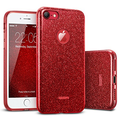 ESR iPhone 7 Case,Glitter Sparkle Bling Case [Three Layer] for Girls Women [Shock-Absorption] for 4.7' iPhone 7 (2016 Release)(Red)