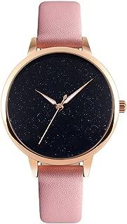 Watch Womens Quartz Waterproof Lady Watch Wrist Watch Creative Starlight Dial Birthday Gift with Genuine Leather Band