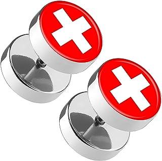 1 Paar Ohrstecker Ohrringe Cabochon Schweizer Flagge Edelstahl rot weiß Fußball