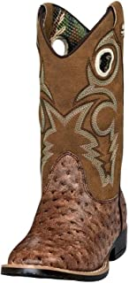Double Barrel Boys' Brant Ostrich Print Cowboy Boot Square Toe - 4440102