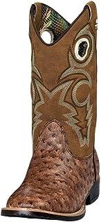 Double Barrel Boys' Brant Ostrich Print Cowboy Boot Square Toe - 4440102