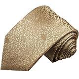 Paul Malone Krawatte cappuccino braune florale Seidenkrawatte extra schmale 6cm