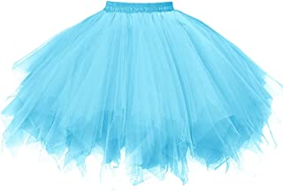 OBBUE Women's Short Vintage Petticoat Skirt Ballet Bubble Tutu Multi-Colored