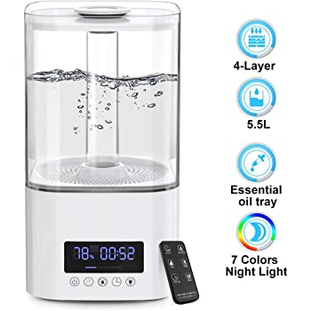 Sleep Mode Remote Control 5.5L Ultrasonic Silent Humidifier