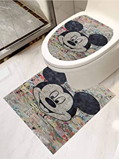 AuraiseHome Toilet seat Sticker Decal Cartoon Comic Disney Drawn Hd Walppapers Mickey Mouse Toilet Decoration Set of 2