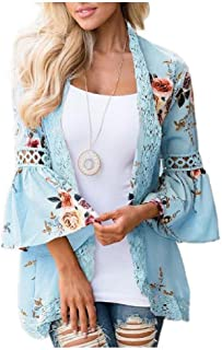 neveraway Womens Floral Print Flare Sleeve Open Front Lace Wrap Cardigan