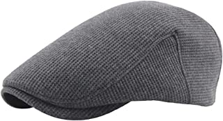 Sunhat Sun Hat Fashion Beret Cap Autumn Winter Wool Ladies Wool Men's Knit Solid Color Plus Cotton Velvet Thick Beret Small Lattice (Color : Gray, Size : 56-58cm)