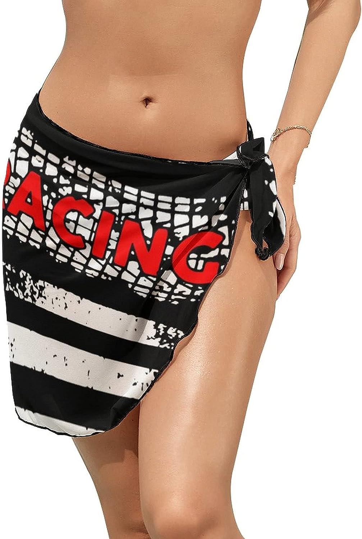 JINJUELS Women's Beach Sarongs Bikini Cover Ups Black Drag Racing Flag Sheer Swimwear Short Skirt