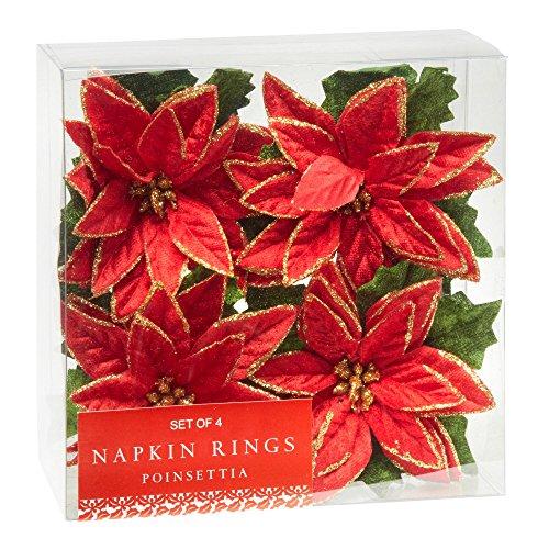 Nantucket Home Red Poinsettia Napkin Rings, Set of 4